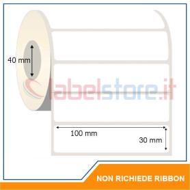 100x30 mm Rotolo etichetta TERMICA diretta bianca neutra adesive stampabili