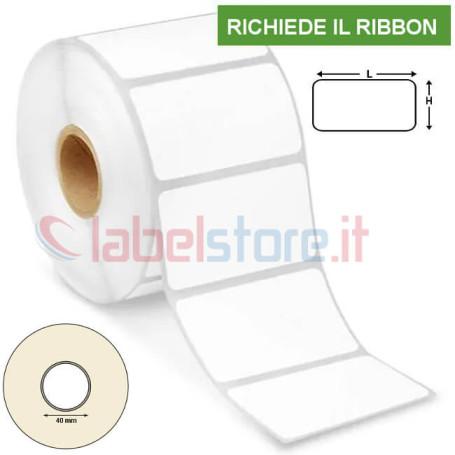 80x40 mm Rotolo etichette VELLUM adesive stampabili a trasferimento termico 1000 pz