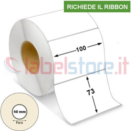 100x73 mm Rotolo etichette VELLUM bianco adesive stampabili a trasferimento termico