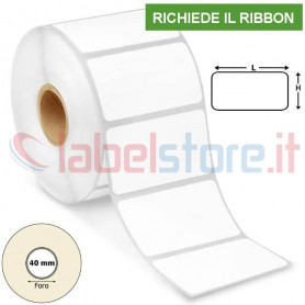 50x25 mm Etichette VELLUM adesive stampabili a trasferimento termico rotolo 2000 Pz