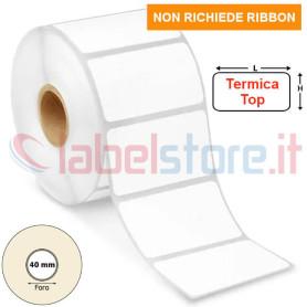 50x30 mm Etichetta TERMICA TOP adesivo PERMANENTE bianca