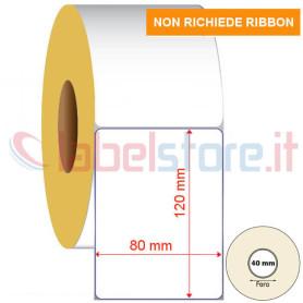 80x120 mm Rotolo etichette TERMICHE dirette con adesivo permanente 500 pz