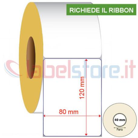80x120 mm Rotolo etichette VELLUM a adesive neutre a trasferimento termico