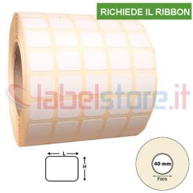 Etichetta carta VELLUM mm 20x10 adesiva in bobina stampabile a trasferimento termico 10000 pz