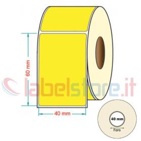40x60 mm Rotolo etichette adesive GIALLO stampabili a trasferimento termico 1000 pz