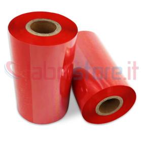 Ribbon ROSSO mm 110x300 Mt Cera Resina per stampanti trasferimento termico ink out