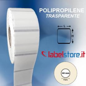 Etichette adesive mm 35x35 Polipropilene TRASPARENTE stampabili a trasferimento termico