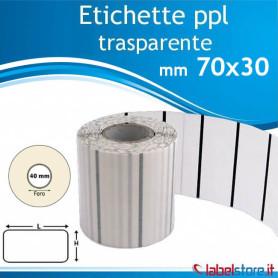 Etichette adesive 70x30 mm polipropilene PPL TRASPARENTE in rotolo stampabili con ribbon