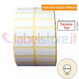 25x10 mm Rotolo etichetta termica top a 2 piste con Sconto Quantità