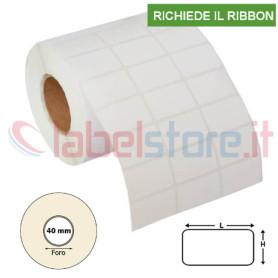 Etichette 38x25 mm VELLUM adesive in rotolo stampabile a trasferimento termico 3000 pz