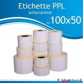 100x50 mm Rotolo etichette adesive  PPL bianco da 1000 pz