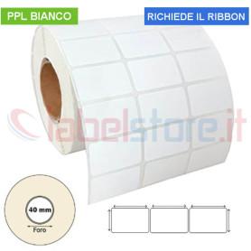 Etichette adesive mm 27x15 PPL BIANCO 3 piste in rotolo stampabile a trasferimento termico