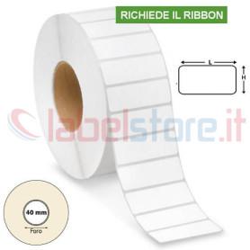 50x20 mm Etichette VELLUM adesive stampabili a trasferimento termico rotolo 3000 Pz