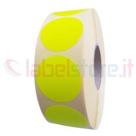 Etichetta adesiva 35x35 mm tondo fluorescente giallo stampabile a trasferimento termico