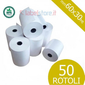 Rotoli carta mm 60x30 Mt carta termica per bilance 50 pz