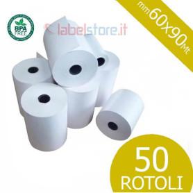 Rotoli scontrino mm 60x90 Mt carta termica per bilance 50 pz