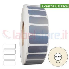 Etichette 25x10 mm POLIESTERE ARGENTO stampabili a trasferimento termico in rotolo 4000pz
