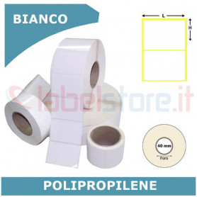 40x23 mm Etichette polipropilene PPL BIANCO lucido in rotolo stampabile a trasferimento termico