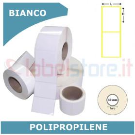 60x80 mm Etichette polipropilene PPL BIANCO lucido in rotolo stampabile a trasferimento termico