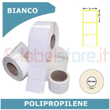 20x20 mm Etichette polipropilene PPL BIANCO lucido stampabili in rotolo - adesivo forte