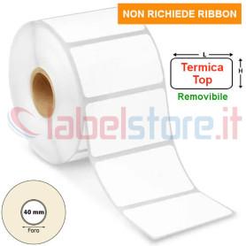 Etichette 40x24 mm TERMICA TOP adesivo REMOVIBILE in rotolo stampabile termico diretto