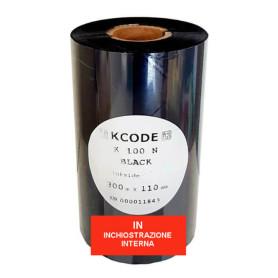 Ribbon 110x300 mt CERA nero Ink IN alta qualità per stampa a trasferimento termico