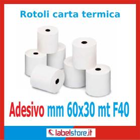 Rotoli carta termica adesiva mm 60x30 mt  f.40 (Conf. 50 pz.)