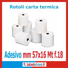 Rotoli carta termica adesiva mm 57x16 mt  f.18 (Conf. 50 pz.)